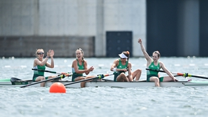 The Irish team celebrate after their third place finish