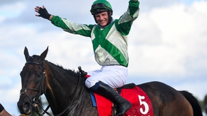 Paul Townend celebrates after riding Royal Rendezvous to victory