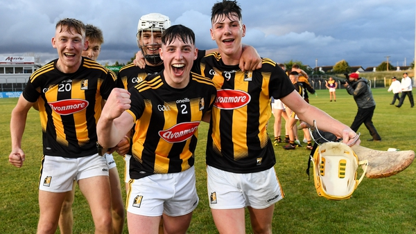 Kilkenny players Ben Whitty, Ted Dunne, Evan Rudkins and Killian Doyle celebrate their Leinster title win