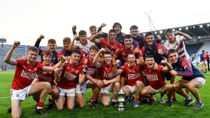 Cork players celebrate the win over Limerick