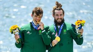 Fintan McCarthy, left, and Paul O'Donovan celebrate their gold medal