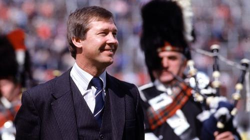 Alex Ferguson ahead of the 1982 Scottish Cup final against Rangers