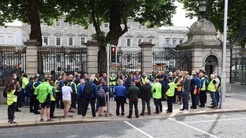 Drivers protested outside Leinster House today