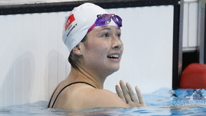 Haughey reacts after winning a semi-final of the women's 100m freestyle