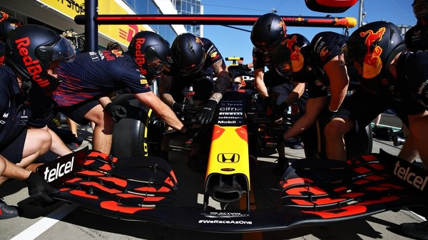 The Red Bull Racing team practice pitstops ahead of the Hungarian Grand Prix