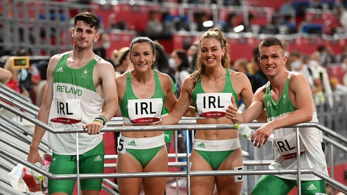 Chris O'Donnell (r) produced a surging finish to ensure that Ireland were the fourth team across the finish line