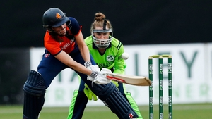 De Leede hit two sixes and eight fours in her hour-long stay at the crease