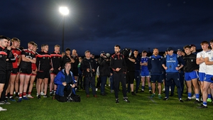 Down manager Conor Laverty addresses both sides after the game