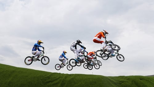 BMX riders hit heights of several metres over jumps