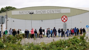 People queuing up at the walk-in vaccine centre at Swords, Dublin, today