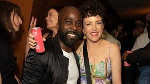 Annie Mac with comedian, radio DJ and television presenter Melvin Odoom at the Radio 1 leaving party for Annie Mac at The London EDITION. (Photo by Samir Hussein/Getty Images)