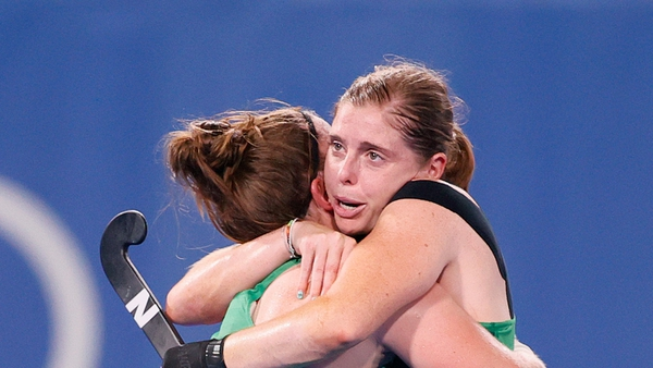 Shirley McCay and Ireland captain Katie Mullan commiserate at full-time