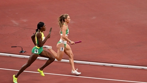Sophie Becker in action in the 4x400 mixed realy final