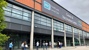 Queues formed outside the SSE Arena in Belfast as people arrived to get vaccinated before the deadline