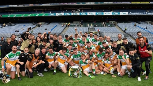 Offaly players and management celebrate Christy Ring Cup victory