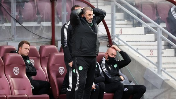 Celtic manager Ange Postecoglou pictured during the 2-1 loss to Hearts