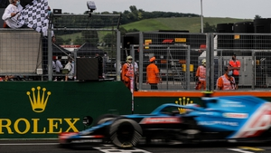Ocon taking the chequered flag