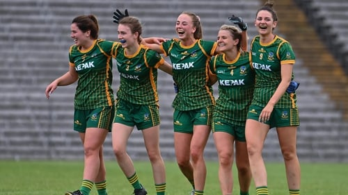 Meath players, from left, Shauna Ennis, Mary Kate Lynch, Aoibhín Cleary, Katie Newe and Máire O'Shaughnessy, celebrate after the game