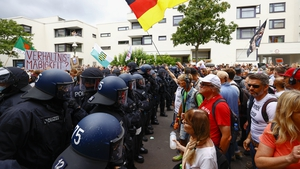 Police officers and protesters clashed in Berlin today