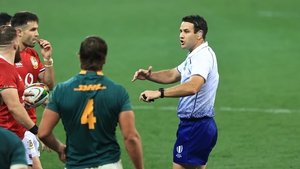 Referee Ben O'Keeffe issues instructions during the second Test match between South Africa and the Lions
