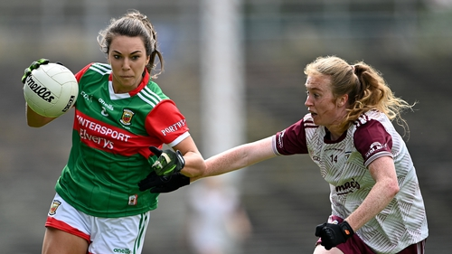 Niamh Kelly of Mayo in action against Louise Ward of Galway