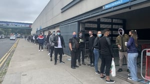 People queuing at the Croke Park walk-in vaccination centre today