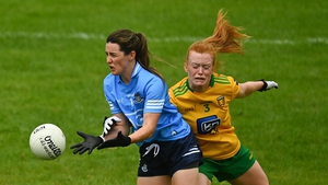 Lyndsey Davey of Dublin is tackled by Evelyn McGinley of Donegal