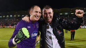 Gary Rogers with then Dundalk boss Stephen Kenny after the second leg against BATE in 2016