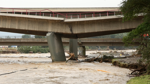 A broken bridge n the village of Sinzig, after parts of Germany were hit with torrential rain and floods