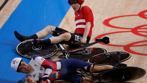 Frederik Madsen crashed into Charlie Tanfield at the Izu Velodrome