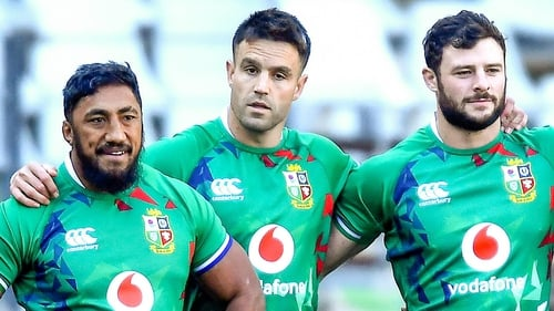 Bundee Aki (left) is reunited with Robbie Henshaw (right) in the Lions midfield but Conor Murray (centre) drops to the bench