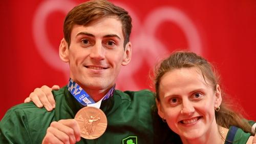 Bronze medallist Aidan Walsh of Ireland with his sister Michaela