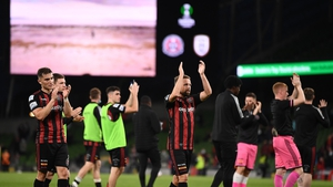 Bohemians' players applauds fans at the Aviva Stadium at full-time