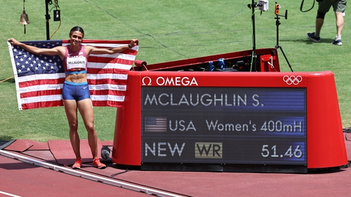 Sydney McLaughlin beat her own world record time