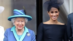 Britain's Queen Elizabeth and the Duchess of Sussex Meghan Markle