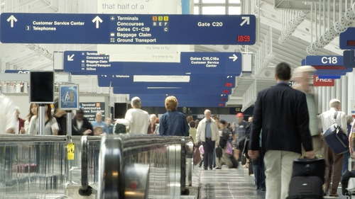 The USclosed its borders to most foreign travellers last year (file image of O'Hare airport, Chicago)