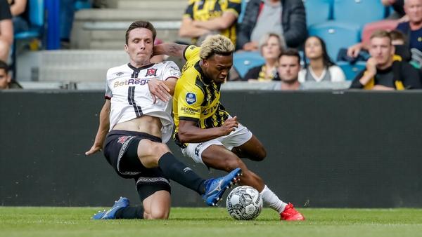Lois Openda of Vitesse is tackled by Raivis Jurkovskis of Dundalk