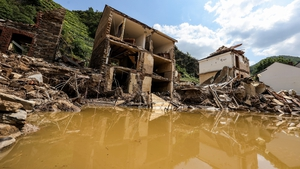 Houses destroyed by flooding in the district of Ahrweiler in Rhineland-Palatinate