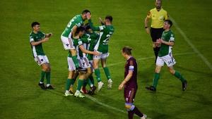 Cork City celebrating their third and final goal at Terryland tonight
