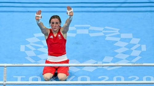 Kellie Harrington in the ring after winning an Olympic gold medal in Tokyo. Photo: Brendan Moran/Sportsfile via Getty Images