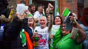 Yvonne Harrington celebrates her daughter's victory at home at Portland Row in Dublin