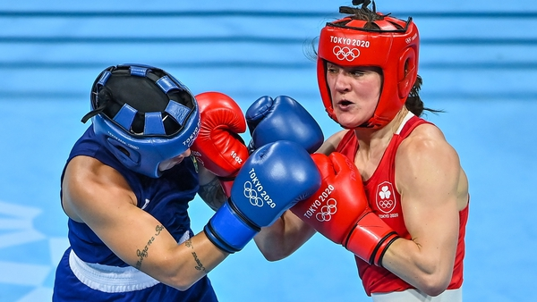 Kellie Harrington connects with a right uppercut