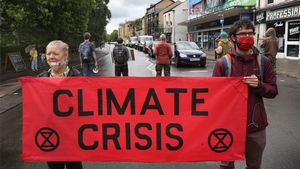 Protesters blocked a major road in Cambridge in order to highlight climate change, pic: Getty