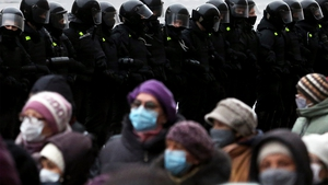 Police blocked a protest rally route in Minsk in November last year