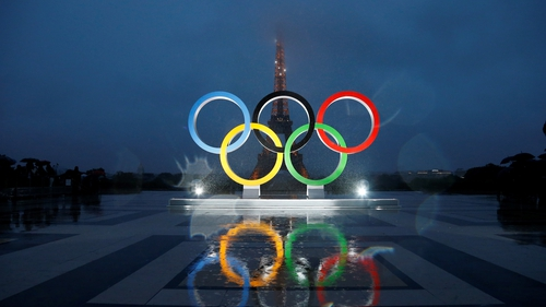Olympic rings illuminate at place du Trocadero near the Eiffel Tower during the Paris 2024 Olympic bid victory