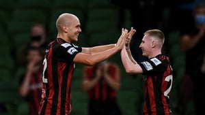 Tierney congratulates Kelly after his goal against Dudelange