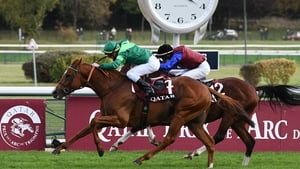In Swoop chasing home Sottsass in the 2020 Prix de l'Arc de Triomphe