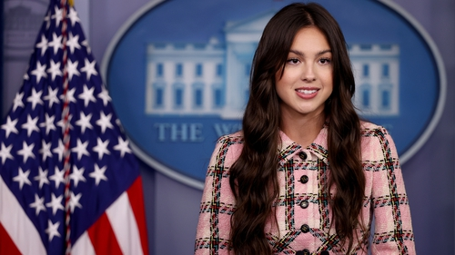 Olivia Rodrigo at the Press Briefing Room at the White House to talk to her talks about Covid vaccines. Photo: Chip Somodevilla/Getty Images