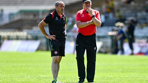 Tyrone joint-managers Brian Dooher (L) and Feargal Logan, who missed the Ulster final win over Monaghan due to Covid