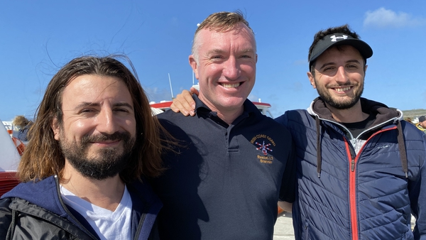 Ricardo Zanon and his brother Giovanni with winchman Philip Wrenn (C) on Inis Mór today